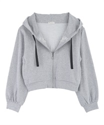 Embroidery Short Hoodie with Jewels(Grey-Free)