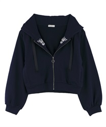 Embroidery Short Hoodie with Jewels(Navy-Free)