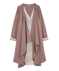 Layered style irregular long cardigan(Pale pink-Free)