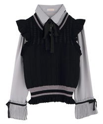 Pleated-Hem Sleeve Blouse with Knit Vest(Grey-Free)