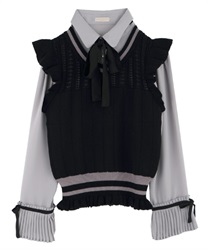 Pleated-Hem Sleeve Blouse with Knit Vest