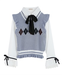 【2Buy10%OFF】Blouse with argyle knit vest(White-Free)