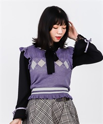 【2Buy10%OFF】Blouse with argyle knit vest(Black-Free)