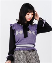 【2Buy10%OFF】Blouse with argyle knit vest