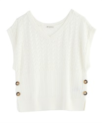Aside button knit vest(Ecru-Free)