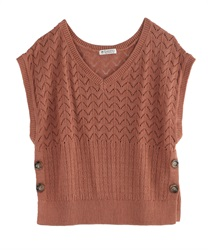 Aside button knit vest(Orange-Free)