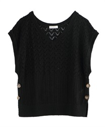 Aside button knit vest(Black-Free)