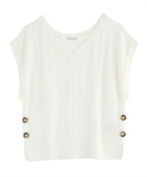 Aside button knit vest