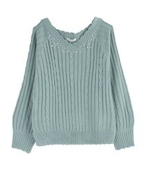 V-Neck Knit with Pearl and Beads Decoration(Green-Free)
