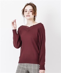 V neck knit pullover(Wine-Free)