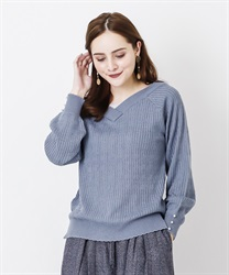 V neck knit pullover(Blue-Free)