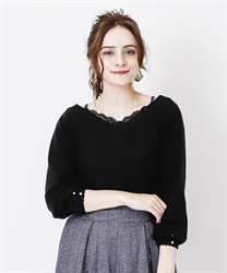 V neck knit pullover(Black-Free)