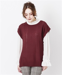Knit vest ensemble(Wine-Free)