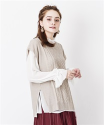 Knit vest ensemble(Beige-Free)