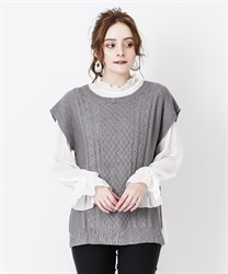 Knit vest ensemble(Grey-Free)
