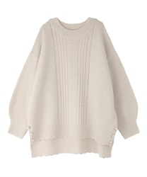 Long hem button knit pullover(Ecru-Free)