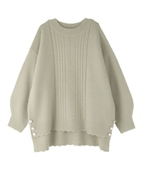 Long hem button knit pullover(Green-Free)
