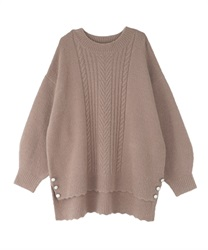 Long hem button knit pullover(Mocha-Free)