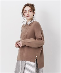 Long hem button knit pullover