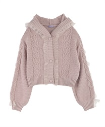 Knit Cardigan with Frill(Pale pink-Free)