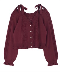 Knit cardigan_MR161X26P(Wine-Free)