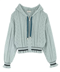 Lined Openwork Knit Hoodie(Green-Free)