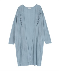 Cutwork Long Cardigan(Saxe blue-Free)