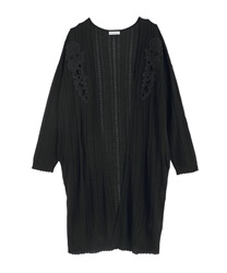 Cutwork Long Cardigan(Black-Free)