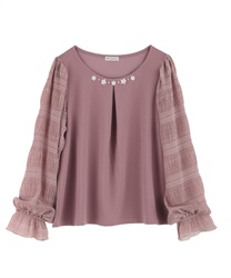Sleeve design pullover(Pale pink-Free)