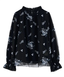 Embroidered tulle blouse(Black-Free)