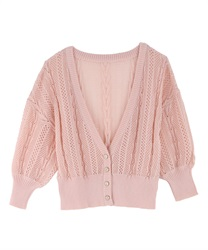 【2Buy10%OFF】Openwork Knit Cardigan(Pale pink-Free)