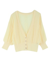 【2Buy10%OFF】Openwork Knit Cardigan(Yellow-Free)