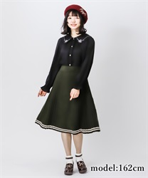 Line designed knit skirt(Green-Free)