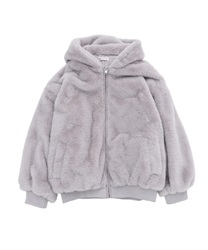Fur coat with hood(Grey-Free)