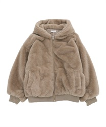 Fur coat with hood(Mocha-Free)