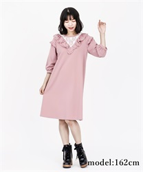 Frilled Cut Dress(Pale pink-Free)