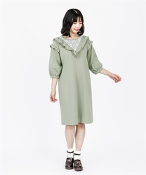 Frilled Cut Dress(Green-Free)
