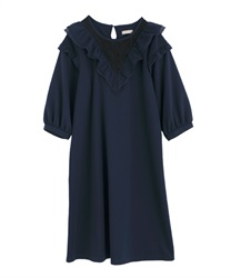 Frilled Cut Dress(Navy-Free)