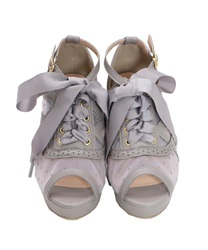 Lace-up tulle sandals(Grey-S)