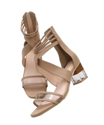 Clear Heeled Cross Sandals(Beige-S)