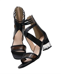 Clear Heeled Cross Sandals(Black-S)