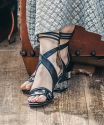 Clear Heeled Cross Sandals