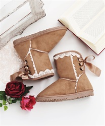 Wool lace up boot(Beige-S)