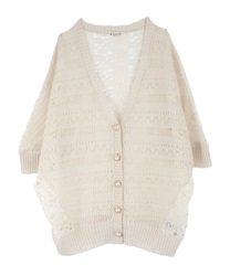 【2Buy10%OFF】Back Lace Openwork Knit Cardigan(Ecru-Free)