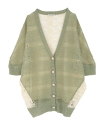 【2Buy10%OFF】Back Lace Openwork Knit Cardigan(Green-Free)
