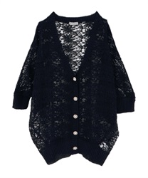 【2Buy10%OFF】Back Lace Openwork Knit Cardigan(Black-Free)