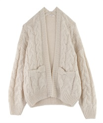 Loosely knit cardigan(Ecru-Free)