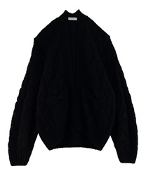 Loosely knit cardigan(Black-Free)