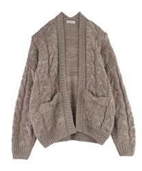 Loosely knit cardigan(Greige-Free)