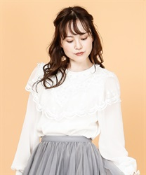 Lace design pullover(White-Free)